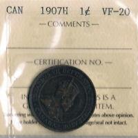 Edward VII  1907H One Cent:  Scarce Variety:  ICCS VF20