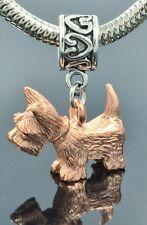 Scottie Lovers Charm on Heart Print Slider Bead for Bracelet Or Necklace