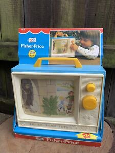 VINTAGE 1980s Fisher Price MUSICAL TV set boxed plastic toy wind up working rare