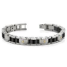 Heavy Duty Stainless Steel and 18 Karat Gold Mens Bracelet