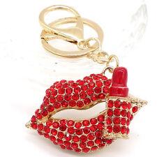 Key chians Purse Bag Red lips Rhinestone Keyrings Keychain charm Pendant Gift G2