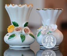 Lot 2 Miniature Vases Pottery Ceramic Raised Applied Flowers Doll House Size <3""