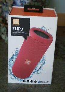 JBL FLIP 3 SPLASHPROOF PORTABLE BLUETOOTH SPEAKER  RED cpb COMPLETE VGC