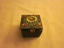 Fabric Covered Trinket Box with Beaded Lid