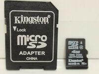 Kingston 4GB Micro SDHC class 4 Memory Card with Adapter for smartphone camera