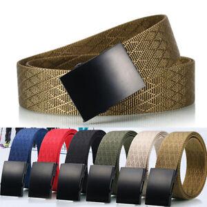 1.5inch Mens Nylon Webbing Belt Cross Pattern Metal Slide Buckle Trousers Belts