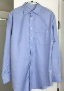 men's Joseph & Feiss long sleeve blue cotton dress shirt size 15-32/33
