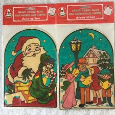 Vintage Christmas Window Clings Santa Carolers Stained Glass Look Commodore Mfg