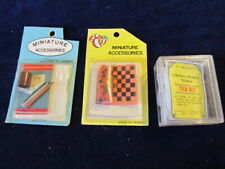 Dollhouse Miniature Writing Desk Accessories + Checkers + 15pc Tea Set    A37