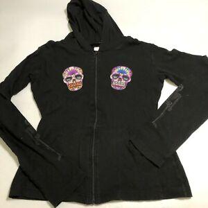 Lucky 13 Womens Full Zip Hoodie Sweatshirt 2 Skulls Size Large