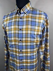 Robert Talbott CLASSIC Blue Orange Green Plaid Long Sleeve Dress Shirt Sz XL