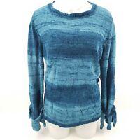 St. Johns Bay Womens Tunic Sweater Deep Lagoon Stripe Long Bow Sleeves M New