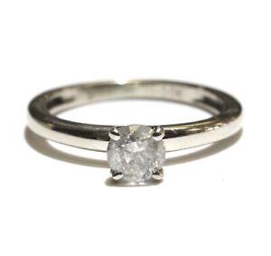 10k white gold .33ct I3 I round diamond solitaire engagement ring 1.5g size 3.25