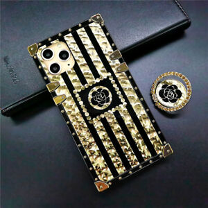 MOBILE PHONE CASE/COVER IPHONE 11/X/XS SAMSUNG GALAXY S10 GOLD/BLACK FLOWER TPU