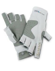Simms Solarflex Guide Fingerless Sun Fishing Gloves Grey Color UPF 50+ Small