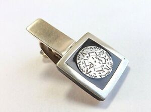 Vintage Tie Clip Tie Pin Mexican SILVER with Black Onyx Layered Face  FREE P&P