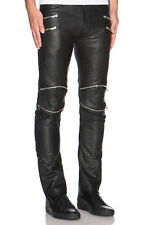 New Genuine Soft Lambskin Leather Mens Biker Pants Slim Fitting Casual Pant P7
