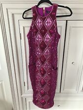 NWT BALMAIN For H&M Pink Crystal Jeweled Embellished Midi Dress Size Us 8