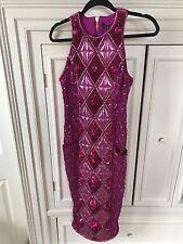 NWT BALMAIN For H&M Pink Crystal Jeweled Embellished Midi Dress Size Us 8