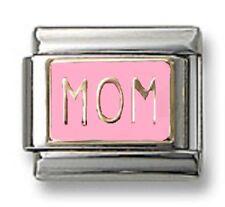 Italian Charm MOM Pink Enamel 9 mm Stainless Steel Link Bracelet Christmas Gifts