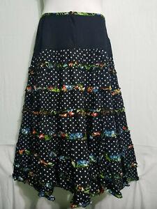 "Women Maxi Flyer Skirt Polka Dot Two Side Pockets Size 2X 20"" across 40"" around"