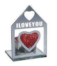 Glas Teelichthalter 10 x 7 cm mit Kristallherz Aufschrift  I LOVE YOU