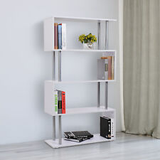 4-Tires Wooden Bookcase S Shape Storage Display Unit Home Organizer White
