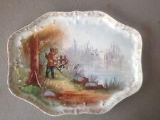 Ancien plat à décor de chasse aux canards