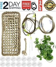 Reptile Habitat Decor Chameleon Cage Accessories Plants Bearded Dragon Hammock