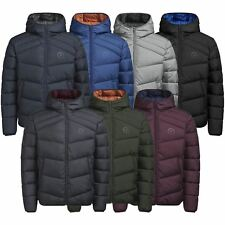 Mens Puffer Jacket JACK & JONES Landing Lightly Padded Hooded Zip Up Coat