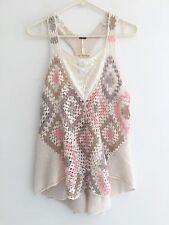 FREE PEOPLE Crochet Knit Top NEW WITH TAG Beads Sequins Size Small $98