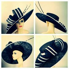 Ladies xxl black and white statement hat. Ascot races wedding made to order