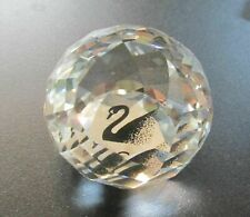 Swarovski Silver Crystal Faceted Round Ball Paperweight w/ Scs Black Swan Inside