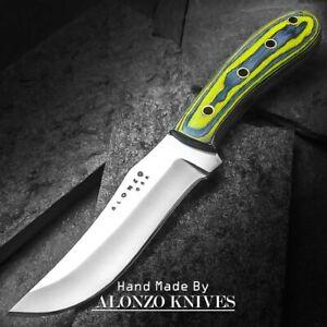 ALONZO KNIVES USA CUSTOM HANDMADE TACTICAL BUSHCRAFT 1095 KNIFE PAKKA WOOD 23225