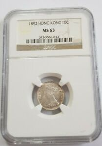 1892 HONG KONG 10 CENTS NGC MS63 UNC SILVER QUEEN VICTORIA @ {KM#6.3}