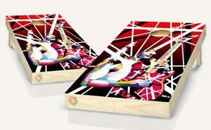 Guitar Van Halen  Cornhole Board Vinyl Wrap Laminated Sticker Set Decal