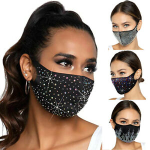 Bling Face Mask Crystal Rhinestone Glitter Diamante Sparkle  Reusable Face Cover