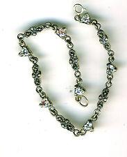 "925 Sterling Silver Bracelet Clear Heart Cubic Zirconia & Marcasite   L 7.1/2"""