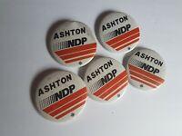 Political Canadian NDP Ashton Election Pinback Button Badge Lot Vintage