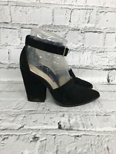 NEXT - Black Suede Ankle Strap Pointed Toe High Heels - Womens - Size 6