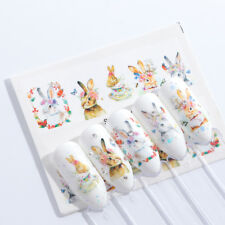 Nail Art Water Decals Stickers Transfers Easter Bunny Rabbits Tea Cups (S662)
