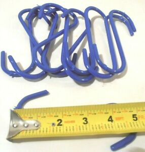 "S HOOK LOT OF 50 BLUE PVC COATED (5"" ) INCH STEEL  PLANT S-HOOK"