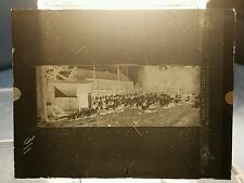Vtg GLASS NEGATIVE SLIDE Picture of Chicken Roosters In Coop