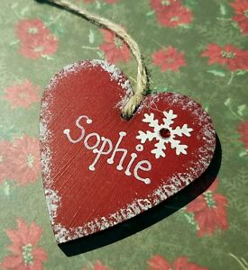 Personalised hand made Christmas heart tree decorations