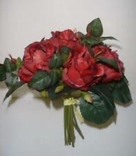 New Tied Bundle / Bouquet x7 Stems Queen Roses Artifical Silk Flowers Red 9in