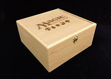 Magic the Gathering Engraved Wooden Deck Box with Hinges & 1 Latches- Cherry Box