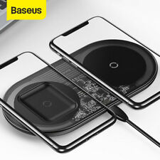Baseus 2in1 QI Wireless Charger Charging Pad Station Dock for iPhone 11 Samsung