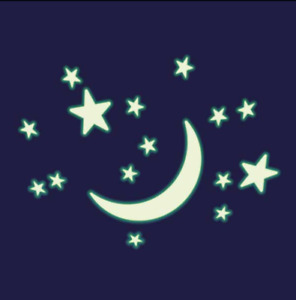 Cosmic Glow Large Crescent Moon & Stars - High Quality glow in the Dark Shapes