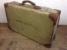 Vintage military 1949 WW2 Demob suitcase green canvas leather chrome latch prop