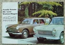 PEUGEOT 404 FAMILY ESTATE, DELUXE & U6 STATION WAGON Car Sales Brochure Oct 1965
